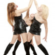 Three girls hands in top. Oath — Stock Photo