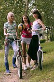 Three girls with bicycle and ball stand in park — Stok fotoğraf
