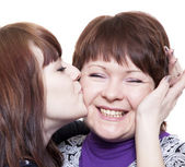 The girl emotionally embraces the woman — Stock Photo