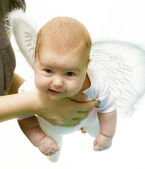 Hands keeps newborn with wing — Stock Photo