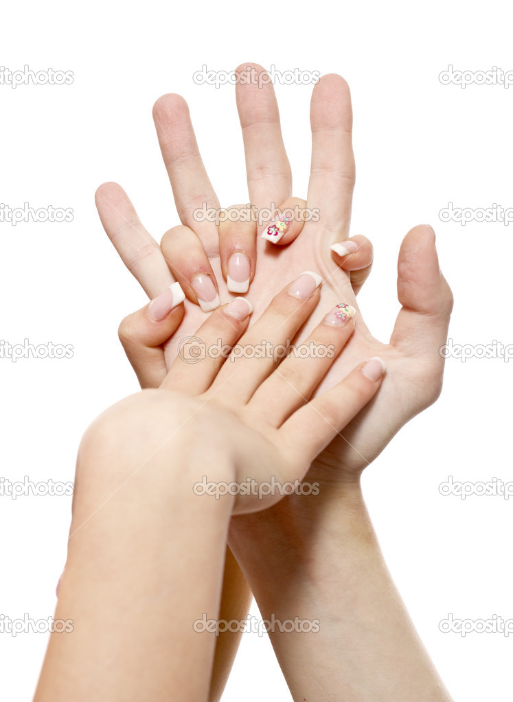 Female and man&#039;s hand on a white background  Stock Photo #7418212