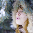 Stock Photo: Winter girl behind snow tree