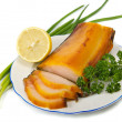 Kipper with greens — Stock Photo