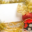 Stock Photo: Christmas ball with box and postcard