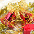 Christmas bells with box — Stock Photo