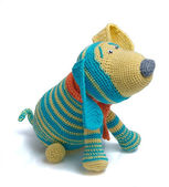 Toy as knitted dog — Stock Photo