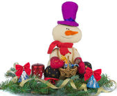 Christmas decoration with snowman — Стоковое фото