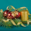 Christmas decorations with candle and spruce — Stock Photo
