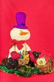 Bonhomme de neige et de décoration de Noël — Photo