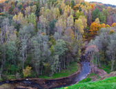Wild river landscape at a fall — Stock Photo