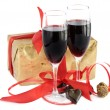 Red wine,gift and chocolate — Stock Photo