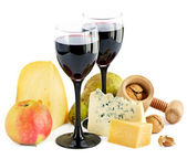 Wine, cheese and apple — Stock Photo