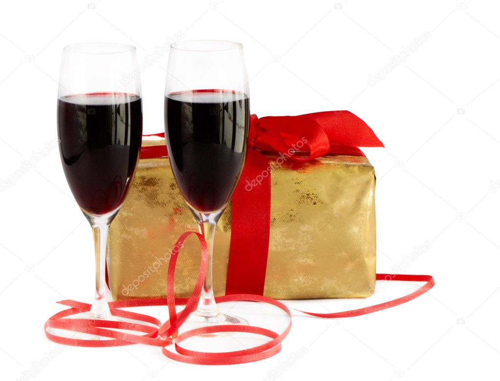 Red wine, gift and chocolates  — Stock Photo #7145066