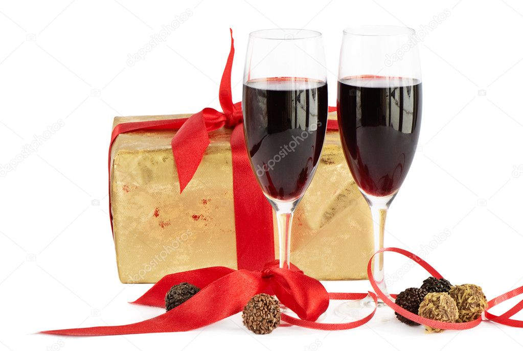 Red wine, gift and chocolates   Stock Photo #7145075