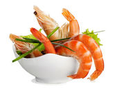 Tiger shrimps isolated on white — Stock Photo