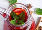 Fruit drink in jug .Closeup — Stock Photo