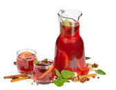 Fruit drink in jug and two glasses. Isolated on white — Stock Photo