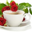 Coffee and roses isolated on white — Stock Photo #7363248