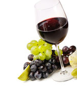 Red wine,grapes and cheese isolated on white background — Stock Photo