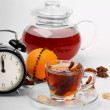 Christmas tea and orange — Stock Photo