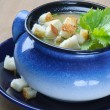 Stock Photo: Vegetable soup with crouton and parsley