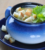Vegetable soup with crouton and parsley — Stock Photo