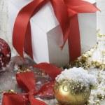 Christmas balls and gift — Stock Photo #7654965