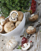 Champignons and spices — Stock Photo