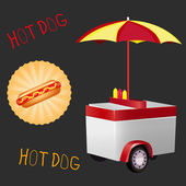 Vector illustration of a hot dog cart — Stock Vector