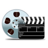 Movie clapper board and film reel — Stock Vector