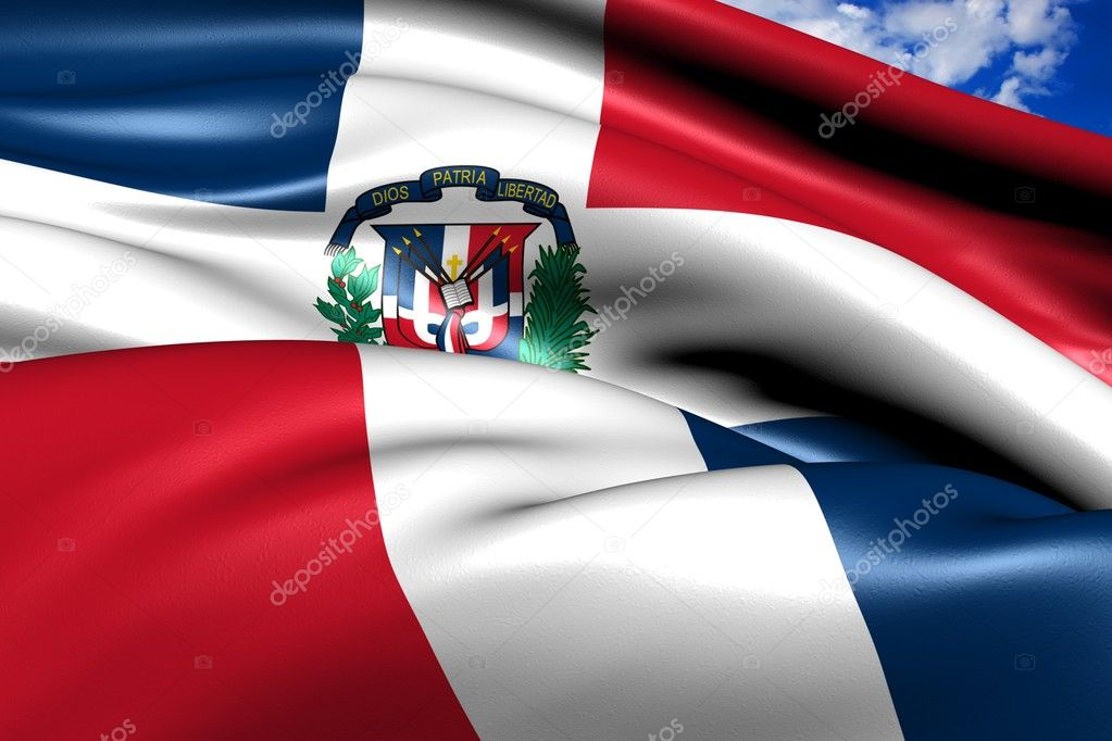 Flag of Dominican Republic against cloudy sky. Close up.  — Stock Photo #6851415