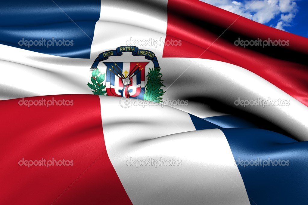 Flag of Dominican Republic against cloudy sky. Close up.   Stockfoto #6851415
