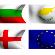 Flags of Bulgaria, Cyprus, England and European Union - Stock Photo