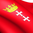Flag of Gdansk, Poland. - Stock Photo