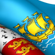 Flag of Saint Pierre and Miquelon, France. - Stock Photo