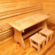 Wooden interior of sauna rest room — Stock Photo