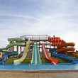 Aquapark slides and swimming-pool — Stock Photo