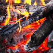 Close-up wooden campfire with burning coals — Stock Photo #7466966