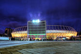 Iluminated night view of Olympic stadium in Kyiv — Stock Photo