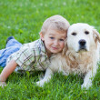 Royalty-Free Stock Photo: Boy with retriever outdoor