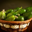 Cucumbers on black — Stock Photo