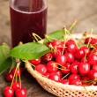 Cherries in basket — Foto Stock