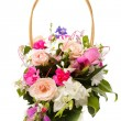 Bouquet pink in basket - Stok fotoraf