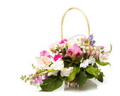 Bouquet pink in basket — Stock Photo