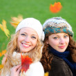 Two girl under the maple — Stock Photo #7261778