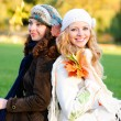 Two girl under the maple — Stock Photo