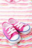 Růžové dětské boty — Stock fotografie