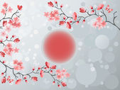 Blooming cherry tree in Japan style — Stock Vector