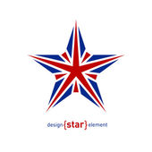 Design element star with United Kingdom flag colors — Stock Photo