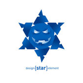 Origami Snowflake from paper with happy face — Stock Photo
